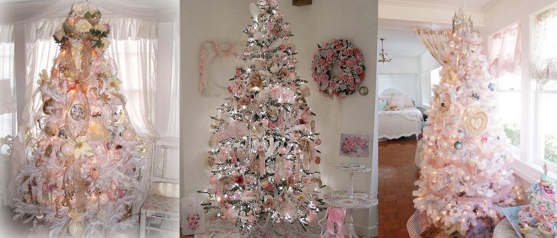 Amato Albero di Natale shabby chic: rosa, bianco ed argento ZY36