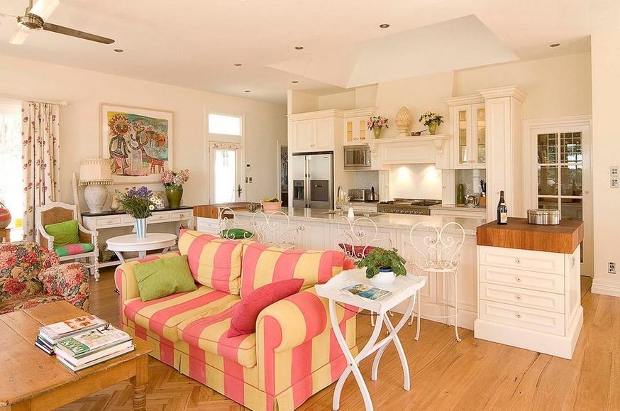 Cucina e salotto open space arredamento shabby - Open space cucina salotto ...