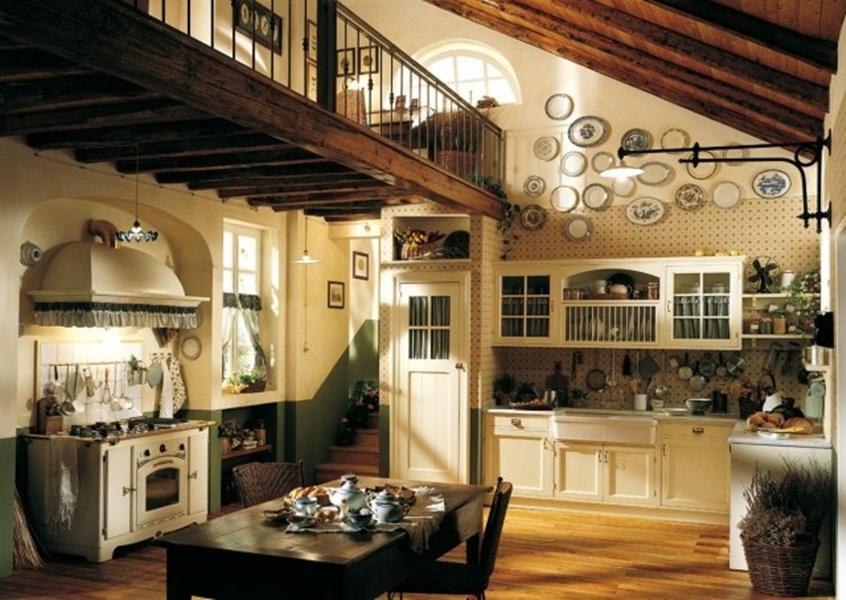 25 idee per arredare la cucina di campagna con il country chic - Cucina con soppalco ...