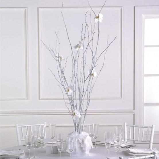 Centrotavola natalizio con rami secchi arredamento shabby - Rami secchi decorativi dove comprarli ...