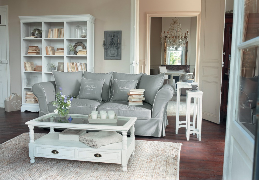 maison du monde salotto in grigio arredamento shabby. Black Bedroom Furniture Sets. Home Design Ideas
