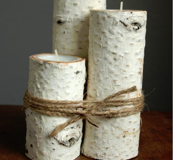 Oggetti shabby fai da te crea candele con i tronchetti di for Oggetti in legno fai da te