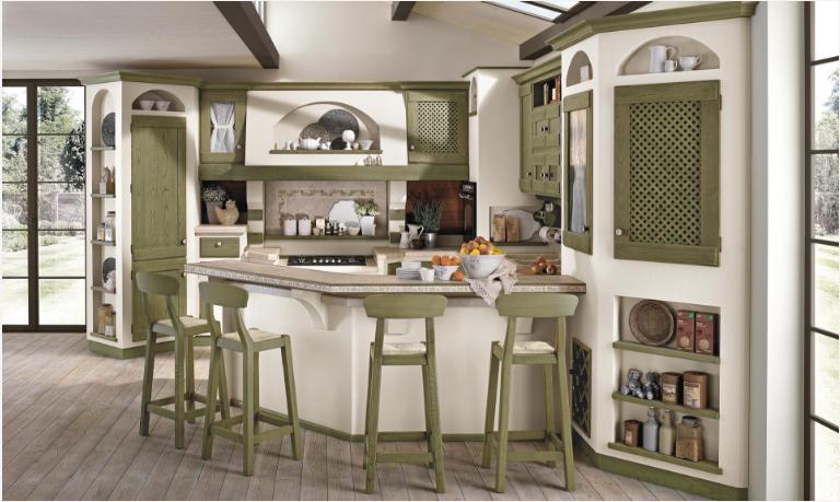 Tutta la collezione delle Cucine Borgo Antico del gruppo Lube