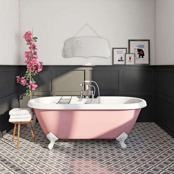 Altrimenti potresti optare, per spezzare la monotonia cromatica, per un  contrasto più deciso alternando il rosa al grigio o al nero.