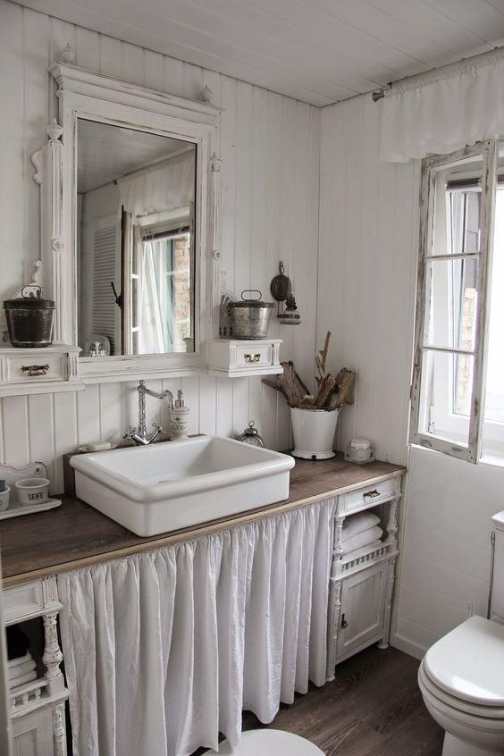 Mobile bagno con tendina: 7 idee shabby [FOTO]