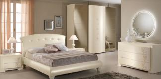 Camera da letto Spar: letto in tessuto