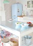 come arredare una casa vintage cucina azzurra