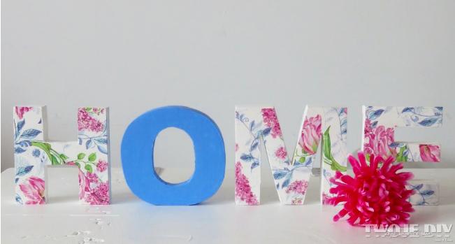 Lettere Di Legno Colorate : Come decorare le lettere di legno con il decoupage