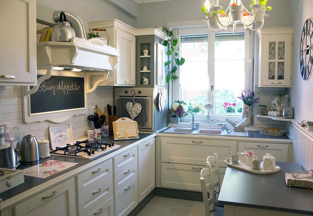 cucina shabby bianco gesso