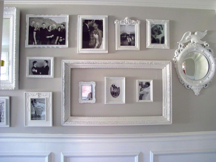 Pareti decorate con foto in stile shabby chic for Cornici da muro per foto