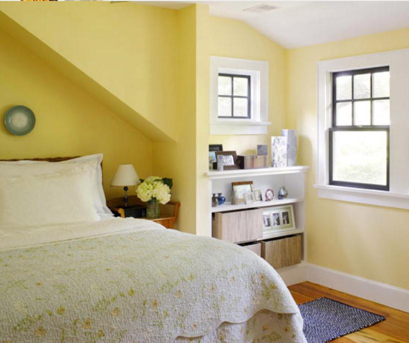 Pareti Gialle E Blu : Pareti gialle in camera da letto per un atmosfera shabby