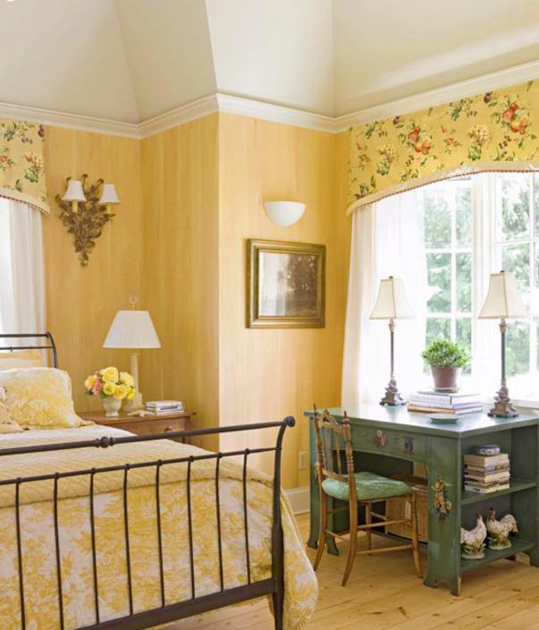 Pareti Cucina Giallo : Pareti gialle in camera da letto per un atmosfera shabby