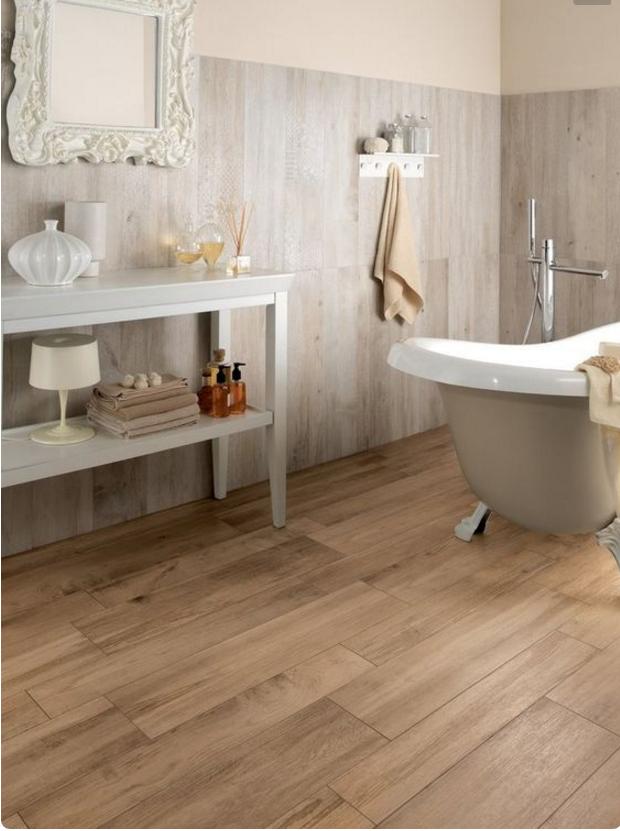 Nello stile country chic il rivestimento del bagno deve - Piastrelle grigie bagno ...