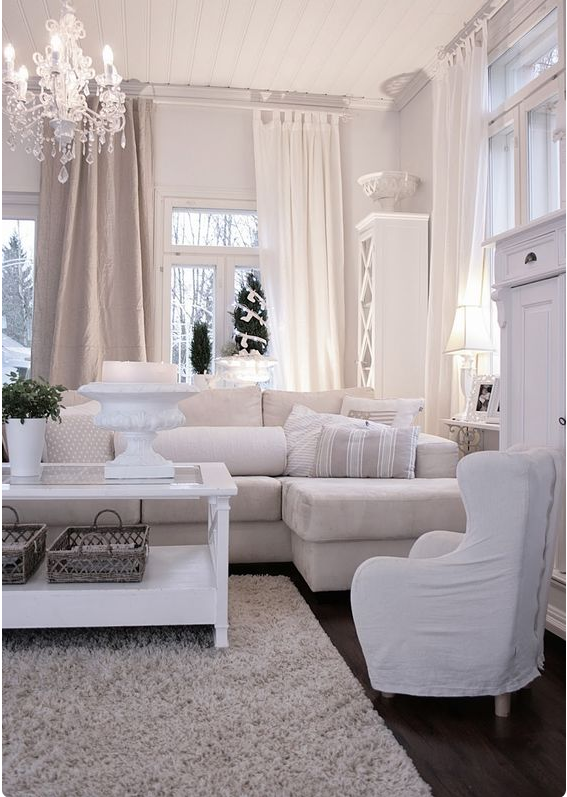 Un salotto moderno bianco in stile shabby chic la perfezione for Shabby chic moderno