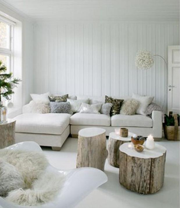 Nella tua casa shabby usa il tronco di legno come tavolo for Grandi capanne di tronchi