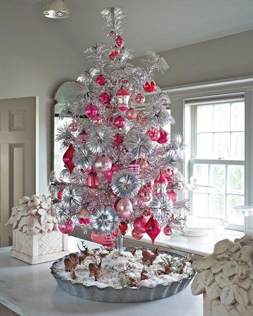 Albero Di Natale Rosa.Albero Di Natale Shabby Chic Rosa Bianco Ed Argento