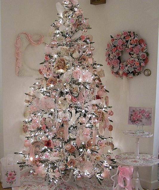 Albero Di Natale Shabby Chic Rosso.Albero Di Natale Shabby Chic Rosa Bianco Ed Argento