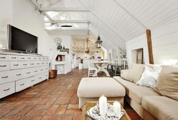 vintage attic bedroom ideas - salotto shabby open space Arredamento Shabby