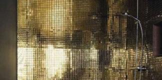 Bagno moderno mosaico: oro
