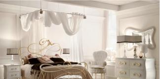 Camera da letto classica contemporanea: bianco e oro