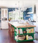 Cucina a vista con isola: legno