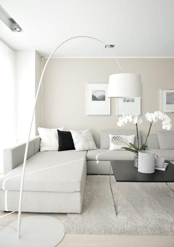 Un salotto moderno bianco in stile shabby chic la perfezione for Colori pareti salotto moderno